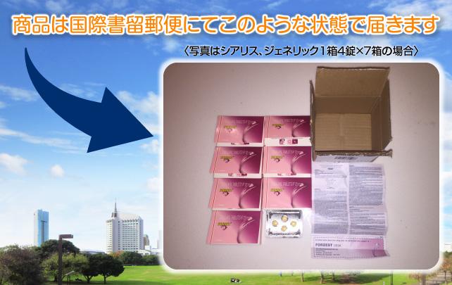 商品は国際郵便で写真のような状態で届きます。写真はシアリスジェネリック1箱4錠×7箱の場合